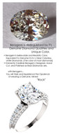 2.66 Benzgem by GuyDesign® Precise Diamond Cut, Believable I-J Color Simulated 02.66 Ct. Oval Diamond, Mined Diamond Semi-Mount G-H Color VS Clarity, Custom 14k White Gold Graduated Accent Solitaire Ring 6809