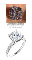 3.21 Benzgem by GuyDesign® Unforgettable, Most Believable, Original G-H-I-J Color 03.21 Ct. Cushion Hand Cut Diamond Copy, Mined Diamond Semi G-H Color VS Clarity, Custom 14k White Gold Jewelry 3/4 Eternity Solitaire Ring 6841
