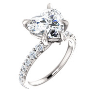 3.72 Benzgem by GuyDesign® Unforgettable, Most Believable, Original G-H-I-J Color 03.72 Ct. Heart Shape Hand Cut Diamond Copy, Mined Diamond Semi G-H Color VS Clarity, Custom 14k White Gold Jewelry 3/4 Eternity Solitaire Ring 6851