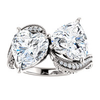 3.72 Unforgettable, Most Believable, Original H-I Color, 07.44 Ct. Tw. Off-White Hand Cut Heart Shape Excellent Diamond Cut Quality Copies, Mined Diamond Semi-Mount, Custom Platinum Jewelry Dual Solitaire Ring 6858