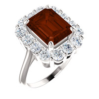 *Emerald Shape Genuine 10 x 8 Mozambique Garnet and Benzgem by GuyDesign® 01.40 Carats of Round Diamond Simulants, Diana Princess of Wales Ring, 14k White Gold, 6859