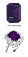 10 x 8 Emerald Shape Mined 10 x 8 Amethyst and Benzgem by GuyDesign® 01.40 Carats of Round Diamond Simulants, Diana Princess of Wales Ring, 14k White Gold, 6860