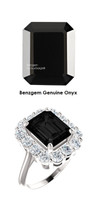 10 x 8 Emerald Shape Mined Faceted 10 x 8 Black Onyx and Benzgem by GuyDesign® 01.40 Carats of Round Diamond Simulants, Diana Princess of Wales Ring, 14k White Gold, 6866