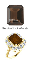 10 x 8 Emerald Shape Mined 10 x 8 Smoky Quartz and Benzgem by GuyDesign® 01.40 Carats of Round Diamond Simulants, Diana Princess of Wales Ring, 14k Yellow Gold, 6867