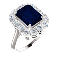 10 x 8 Emerald Shape Lab-Created 10 x 8 Blue Sapphire and Benzgem by GuyDesign® 01.40 Carats of Round Diamond Simulants, Diana Princess of Wales Ring, 14k White Gold, 6869