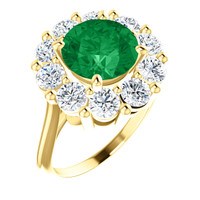 9 x 9 Benzgem by GuyDesign® Round Shape Lab-Created Columbian Color 9 x 9 Beryl Emerald and Round Diamond Simulants 01.60 cts., Diana Princess of Wales Ring, 14k Yellow Gold, 6881