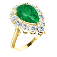 12 x 8 Benzgem by GuyDesign® Pear Shape Lab-Created Columbian Color 12 x 8 Beryl Emerald and Round Diamond Simulants 01.20 cts., Diana Princess of Wales Ring, 14k Yellow Gold, 6885