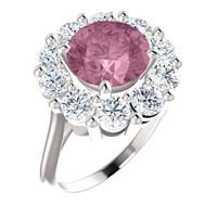 9 x 9 Benzgem by GuyDesign® Round Shape Lab-Created Corundum 9 x 9 Vivid Pink Sapphire and 01.60 Carats of Round Diamond Simulants, Diana Princess of Wales Ring, 14k White Gold, 6886