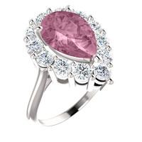 12 x 8 Benzgem by GuyDesign® Pear Shape Lab-Created Corundum 12 x 8 Vivid Pink Sapphire and 01.20 Carats of Round Diamond Simulants, Diana Princess of Wales Ring, 14k White Gold, 6888