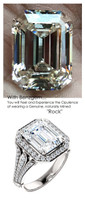 3.95 Prince of Wales Halo Ring by GuyDesign® G-H Color, 03.95 Ct. Off-White Hand Cut Emerald Cut Excellent Diamond Quality Benzgem Diamond Copy, Mined Diamond Semi-Mount, Custom 14K White Gold Jewelry 6910