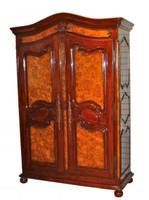 Transitional French - 88 Inch Handcrafted Reproduction Armoire | Wardrobe | TV Cabinet - Antiqued Burl Luxurie Furniture Finish