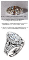 1.59 Prince of Wales Halo Ring by GuyDesign® G-H Color, 01.59 Ct. Off-White Hand Cut Marquise Shape Excellent Diamond Quality Benzgem Diamond Copy, Mined Diamond Semi-Mount, Custom 14K White Gold Jewelry 6913