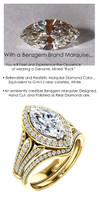 1.59 Prince of Wales Halo Ring by GuyDesign® G-H Color, 01.59 Ct. Off-White Hand Cut Marquise Shape Excellent Diamond Quality Benzgem Diamond Copy, Mined Diamond Semi-Mount, Custom 14K Yellow Gold Jewelry 6914