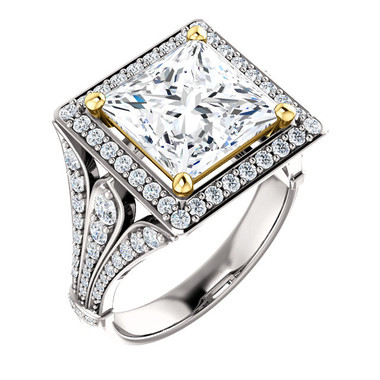 3.81 Prince of Wales Halo Ring by GuyDesign® G-H Color, 3.81 Ct. Off-White Hand Cut Princess Cut Excellent Diamond Quality Benzgem Diamond Copy, Type IIa Colorless CZ Semi-Mount, Custom 14K White Gold Jewelry 6923