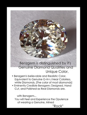2.66 Benzgem by GuyDesign® Most Believable and Realistic 2.66 Ct. Oval Shape... Designed, Hand Cut, and Polished as Real Diamonds are...