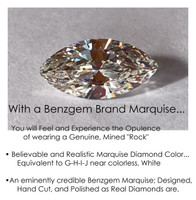 1.59 Benzgem by GuyDesign® Most Believable and Realistic 1.59 Ct. Marquise Cut... Designed, Hand Cut, and Polished as Real Diamonds are.