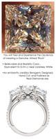 1.09 Anniversary Ring by GuyDesign®, 01.09 Carats x 3 Hand Cut Quadrillion Princess Shape G-H Color Excellent Diamond Quality Benzgem Diamond Simulant, Custom White Gold Jewelry 6934