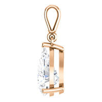 2.85 Ct. Pear Shape Benzgem: Best G-H-I-J Diamond Quality Color Imitation; GuyDesign® Dangle Mined Diamond Pendant Necklace: Custom Gold Jewelry - 6939