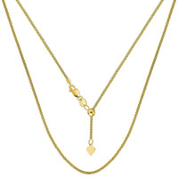 Adjustable Yellow Gold Neck Chain, Pendant Fashion Necklace, 1.4mm Wide x 22 inches Long, Fine Gold Jewelry 6942