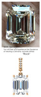 3.95 Ct. Brilliant Emerald Cut Benzgem: Best G-H-I-J Diamond Quality Color Imitation; GuyDesign® Dangle Mined Diamond Pendant Necklace: Custom Rose Gold Jewelry - 6945