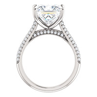 3.81 Micro Pavé Mined Diamond Engagement Ring by GuyDesign®, 03.81 Ct. Hand Cut Princess Shape G-H Color Excellent Diamond Quality Benzgem Replica Diamond, Custom Jewelry 6952