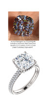 3.21 Micro All Pavé Mined Diamond Engagement Ring by GuyDesign®, 03.21 Ct. Hand Cut Cushion Shape G-H Color Diamond Quality Benzgem Lab-Created Replica, Custom Jewelry 6953