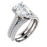 2.85 Micro Pavé Mined Diamond Engagement Ring by GuyDesign®, 02.85 Ct. Hand Cut Pear Shape G-H Color Excellent Diamond Quality Benzgem Diamond Simulant, Custom Jewelry 6957