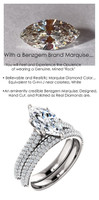 1.59 Micro Pavé Mined Diamond Engagement Ring by GuyDesign®, 01.59 Ct. Hand Cut Marquise Shape G-H Color Excellent Diamond Quality Benzgem Diamond Replica, Custom Jewelry 6958