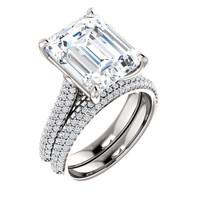 Emerald Cut Engagement Rings, White Gold, Wedding Rings, Simulated Diamond, Diamonds, Wedding Sets, 6965
