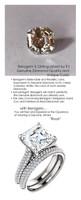 4.50 Micro Pavé Mined Diamond Engagement Ring by GuyDesign®, 04.50 Carat Hand Cut Asscher Shape G-H Color Excellent Diamond Quality Benzgem Diamond Replica, Custom Jewelry 6968