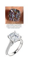 3.21 Micro Pavé Mined Diamond Engagement Ring by GuyDesign®, 03.21 Carat Hand Cut Cushion Shape G-H Color Excellent Diamond Quality Benzgem Diamond Replica, Custom Jewelry 6969