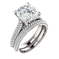 3.21 Micro Pavé Mined Diamond Engagement Ring by GuyDesign®, 03.21 Carat Hand Cut Cushion Shape G-H Color Excellent Diamond Quality Benzgem Diamond Replica, Custom Jewelry 6969