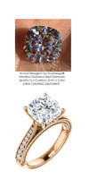 3.21 Brilliant Cushion Diamond Cut, Best Diamond Copy in the World, 03.21, G-H Natural Color. Diamond Semi-Mount G-H Color - SI1 Clarity, 14k Rose Simply Elegant Engagement Ring 6980, Benzgem by GuyDesign®