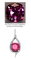4.00 Ct. Cushion Hand Cut Benzgem Brand: Best Lab-Created Hot Pink Corundum Sapphire; GuyDesign®Teardrop Pendant Necklace: Custom Mined Diamond and Gold Jewelry - 6988