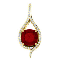 9 x 9 4.00 Ct. Cushion Hand Cut Benzgem Brand: Best Lab-Created Blood Red Corundum Ruby; GuyDesign®Teardrop Pendant Necklace: Custom Mined Diamond and Gold Jewelry - 6989
