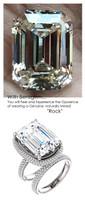 14.22 ct. Micro Pavé Mined Diamond G+, VS Engagement Ring by GuyDesign®, 14.22 Carat G-H Color Emerald Cut, Believable Diamond Replica, Custom Jewelry 7017