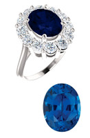 Princess Diana Ring/Precision Cut, Natural G+, VS 1.20 Carat Diamond Semi-Mount/3.85 Carat Oval Cut Chatham Corundum Sapphire/Opulent Ring Designed by GuyDesign®/Platinum Ring/7024