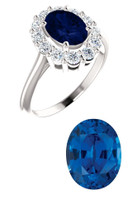Princess Diana Ring/Precision Cut, Natural G+, VS .60 Carat Diamond Semi-Mount/1.75 Carat Oval Cut Chatham Corundum Sapphire/Opulent Ring Designed by GuyDesign®/Platinum Ring/7026