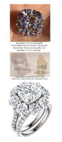 3.21 Carat, Luxury Cushion Cut Benzgem Solitaire, Benzgem; Diamond Quality Color and Cut, matches convincingly the 4.32 ct. Natural Diamond Semi-Mount; GuyDesign® Halo Design Engagement or Right Hand Ring, Platinum, 7028,