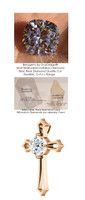 3.21 Ct. Hand Cut Antique Cushion Shape Benzgem: Best G-H-I-J Diamond Quality Color Imitation; GuyDesign® Cross Pendant Necklace: Custom Rose Gold Jewelry - 7031