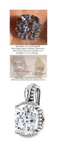 3.21 Ct. Hand Cut Antique Square Cushion Cut Benzgem; G-H-I-J Diamond Quality Color Imitation; GuyDesign® Beaded Pendant Necklace: Custom White Gold Jewelry - 7033