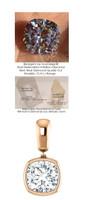 3.21 Ct. Hand Cut Antique Square Cushion Cut Benzgem: G-H-I-J Diamond Quality Color Imitation; GuyDesign® Contemporary Bezel Set Dangle Pendant Necklace: Custom Rose Gold Jewelry - 7036