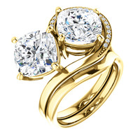 6 Carat and 42 points, Ladies Mined Diamond Semi-Mount Two Stone Swirl Yellow Gold Ring, Benzgem by GuyDesign® Premium Cushion G-J Color Diamond Simulation 7048