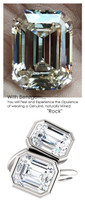 7.90 Ct. TGW., Ladies Modern Contemporary Two Stone Platinum Bezel Set Ring, Benzgem by GuyDesign® Premium Diamond Cut Emerald Shape G-J Color Lab-Created Imitation Diamond 7054