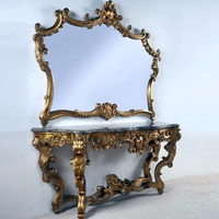 "A Versailles Louis XIV French Baroque Period - 77"" Handcrafted Reproduction Entry Table Console and Wall Mirror - Gold Luxurie Furniture Finish NF11, 6388"