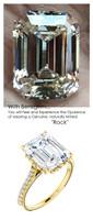 5.50 Ct. Ladies Mined Diamond Semi-Mount, 18k Yellow Plumb Gold, Louis XIV, Baroque Scroll Ring, Benzgem by GuyDesign® Premium Emerald Cut G-J Color Diamond Simulation 6627