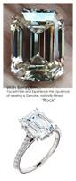 3.95 Ct. Ladies Mined Diamond Semi-Mount, Platinum, Louis XIV, Baroque Scroll Ring, Benzgem by GuyDesign® Premium Emerald Cut G-J Color Diamond Simulation 6601