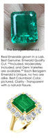 4.00 Ct. Benzgem by GuyDesign® Lab-Grown Beryl Colombian Green Emerald, Artificial Diamond Diana Princess of Wales Gold Ring 7066