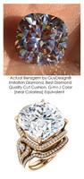3 Stone Engagement Ring, Halo Engagement Rings, Diamond Semi-Mount, Cushion Cut, Pink Gold, Simulated Diamond, Natural Diamond, Wedding Sets, 7084