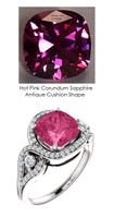 3.90 Ct. Benzgem by GuyDesign® Lab-Created Corundum Hot Pink Cushion Sapphire, Mined Diamond Semi Mount, White Gold Ring 7085
